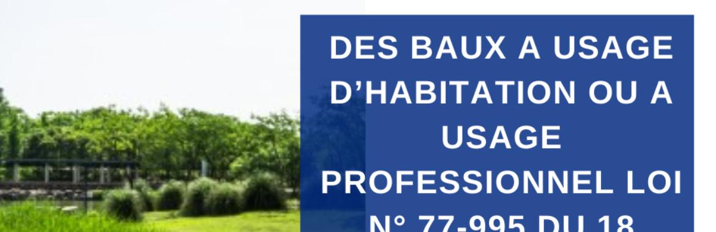 DES BAUX A USAGE D'HABITATION OU A USAGE PROFESSIONNEL LOI N° 77-995 DU 18 DECEMBRE 1977