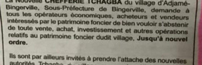 Communiqué relatif au patrimoine foncier du village de Adjamé-Bingerville